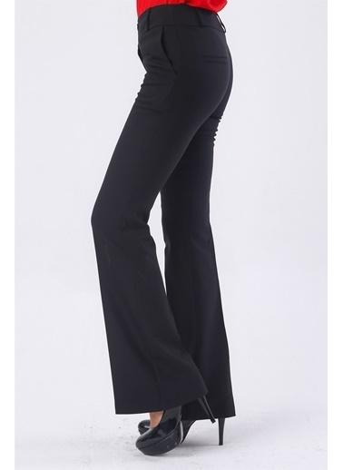 Jument Kalın Kemerli Cepli Ispanyol Bol Paça Likralı Kumaş Pantolon-Gül Kurusu Siyah